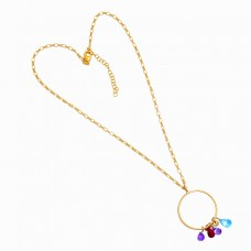 925 Sterling Silver Multi Color Gemstone Gold Plated Designer Necklace