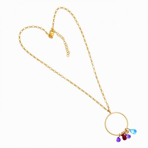 925 Sterling Silver Multi Color Gemstone Gold Plated Designer Necklace