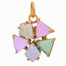 Triangle Shape Chalcedony Moonstone 925 Silver Gold Plated Necklace Jewelry