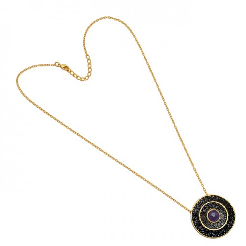 925 Sterling Silver Round Shape Amethyst Gemstone Gold Plated Necklace