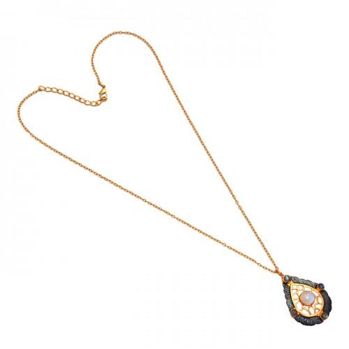 925 Sterling Silver Moonstone Labradorite Gemstone Gold Plated Necklace
