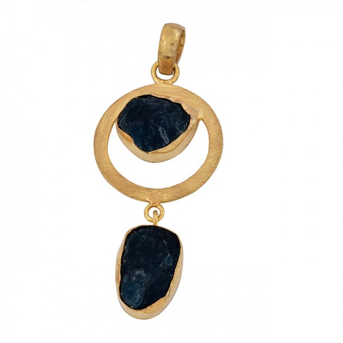 Apatite Rough Gemstone 925 Sterling Silver Gold Plated Pendant Necklace