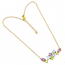 Square Shape Amethyst Blue Topaz Peridot Gemstone 925 Silver Necklace