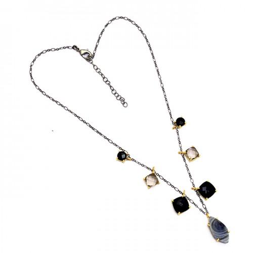 Onyx Quartz Druzy Gemstone 925 Sterling Silver Gold Plated Necklace