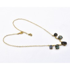 Oval Shape Labradorite Gemstone 925 Sterling Silver Gold Plated Necklace