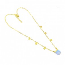 Fancy Shape Moonstone 925 Sterling Silver Gold Plated Necklace Jewelry
