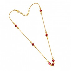 925 Sterling Silver Round Shape Ruby Gemstone Gold Plated Necklace Jewelry