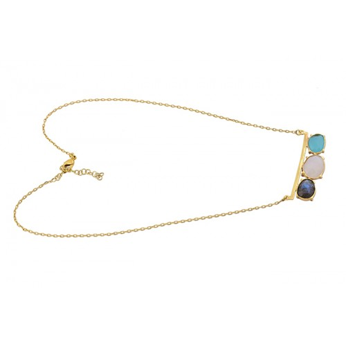 Oval Shape Labradorite Moonstone Chalcedony 925 Silver Gold Plated Necklace