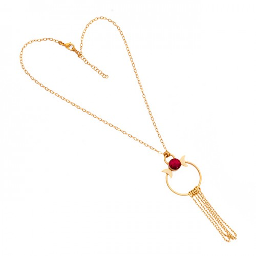 Round Shape Ruby Gemstone 925 Sterling Silver Gold Plated Necklace