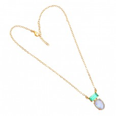 Apatite Moonstone 925 Sterling Silver Gold Plated Designer Necklace