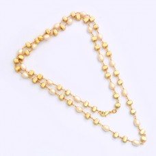 925 Sterling Silver Pearl Gemstone Gold Plated Designer Necklace Jewelry