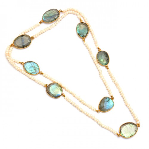 Labradorite Pearl Gemstone 925 Sterling Silver Gold Plated Necklace Jewelry