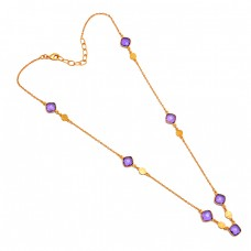 Cushion Shape Amethyst Gemstone 925 Sterling Silver Gold Plated Necklace