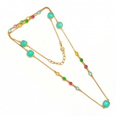 Multi Color Gemstone 925 Sterling Silver Gold Plated Designer Necklace