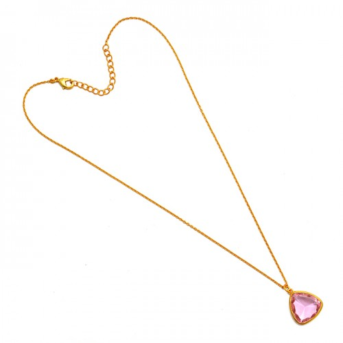 Triangle Shape Pink Quartz Gemstone 925 Sterling Silver Gold Plated Necklace