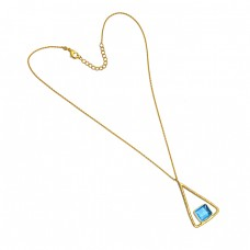 Rectangle Shape Blue Topaz Gemstone Sterling Silver Gold Plated Necklace Jewelry