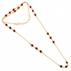 Round Shape Red Garnet Gemstone 925 Silver Gold Plated Necklace Jewelry