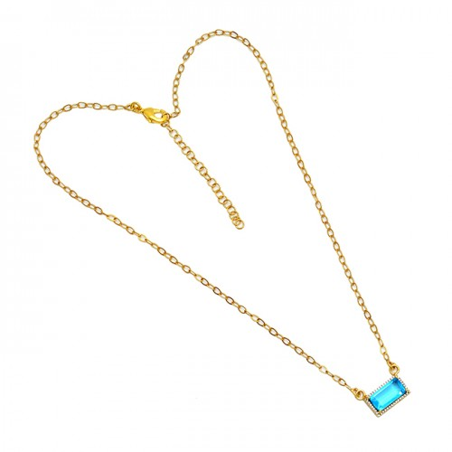 Round Rectangle Shape Gemstone 925 Sterling Silver Gold Plated Necklace