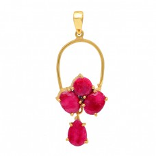 925 Sterling Silver Ruby Gemstone Gold Plated Pendant Necklace Jewelry