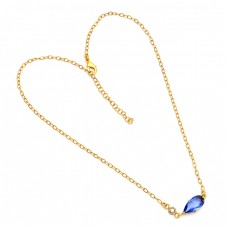 Pear Shape Blue Quartz Gemstone 925 Sterling Silver Gold Plated Necklace
