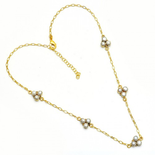 Round Shape Pearl Gemstone 925 Sterling Silver Gold Plated Necklace