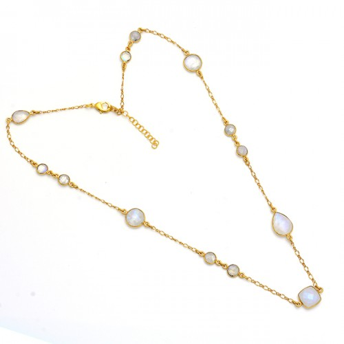 Rainbow Moonstone 925 Sterling Silver Gold Plated Designer Necklace