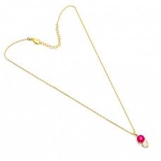 Round Shape Ruby Moonstone 925 Sterling Silver Gold Plated Necklace