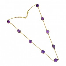 Fancy Shape Purple Amethyst Gemstone Sterling Silver Gold Plated Necklace Jewelry