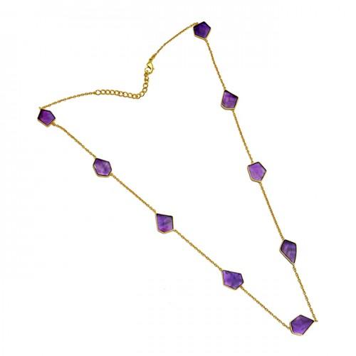 Fancy Shape Purple Amethyst Gemstone Sterling Silver Gold Plated Necklace Jewelry