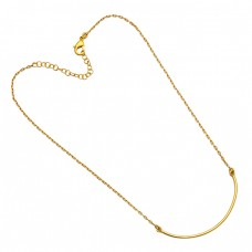 925 Sterling Silver Plain Handmade Designer Gold Plated Necklace Jewelry