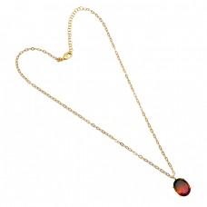 Oval Shape Tourmaline Doublet Quartz Gemstone Gold Plated Necklace