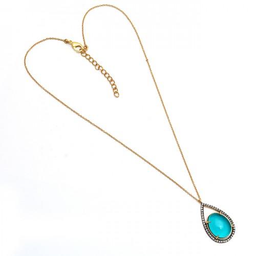 oval shape gemstone necklace, apatite gemstone necklace, gold plated necklace,