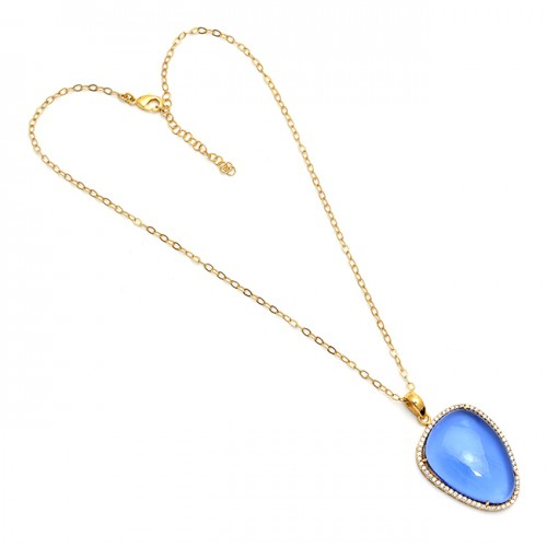 925 Sterling Silver Oval Shape Chalcedony Gemstone Gold Plated Necklace