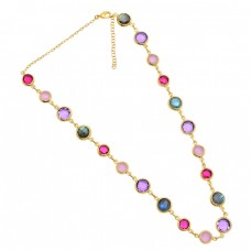 Round Shape Multi Color Gemstone 925 Sterling Silver Gold Plated Necklace