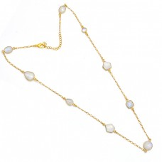 Oval Pear Fancy Shape Moonstone 925 Sterling Silver Gold Plated Necklace