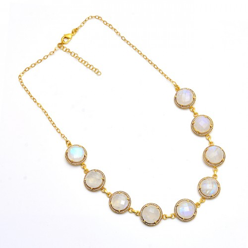 925 Sterling Silver Round Shape Moonstone Gold Plated Necklace Jewelry