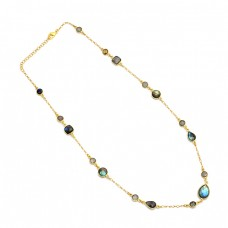 925 Sterling Silver Labradorite Gemstone Gold Plated Designer Necklace