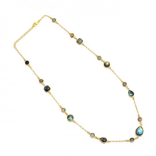925 Sterling Silver Labradorite Gemstone Gold Plated Designer Necklace