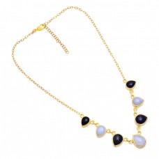 Pear Shape Black Onyx Moonstone 925 Sterling Silver Gold Plated Necklace