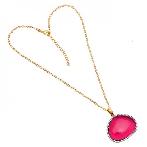 Oval Shape Pink Tourmaline Quartz Gemstone 925 Silver Gold Plated Necklace