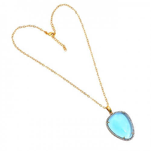 Oval Shape Blue Topaz Gemstone 925 Sterling Silver Gold Plated Necklace