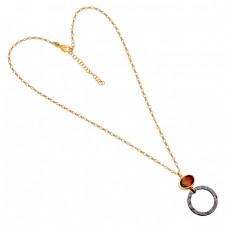 925 Sterling Silver Tourmaline Doublet Quartz Gemstone Gold Plated Necklace