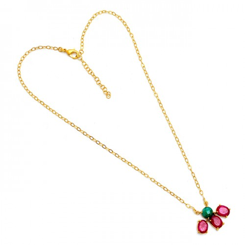 Emerald Ruby Gemstone 925 Sterling Silver Gold Plated Necklace Jewelry