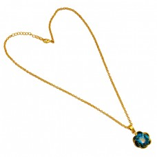 Round Cabochon Blue Copper Turquoise Gemstone Sterling Silver Gold Plated Necklace Jewelry