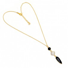 Black Onyx Moonstone 925 Sterling Silver Gold Plated Necklace Jewelry