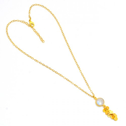 925 Sterling Silver Round Shape Moonstone Gold Plated Designer Necklace