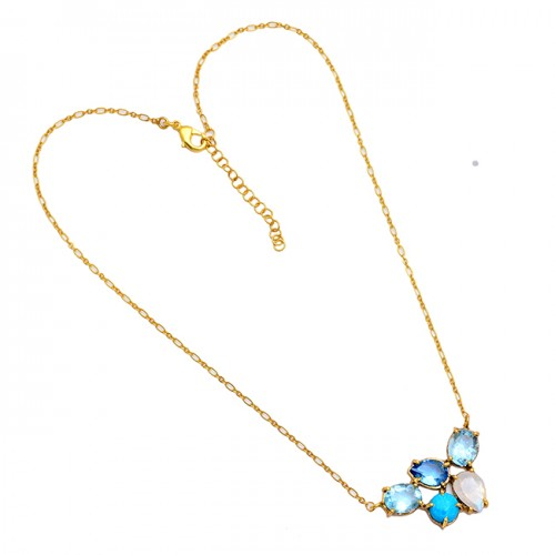 925 Sterling Silver Oval Pear Round Shape Gemstone Gold Plated Necklace
