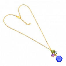 Peridot Amethyst Topaz Chalcedony Gemstone 925 Silver Gold Plated Necklace