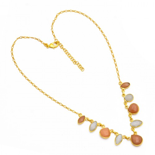 Heart Marquise Shape Moonstone 925 Sterling Silver Gold Plated Necklace