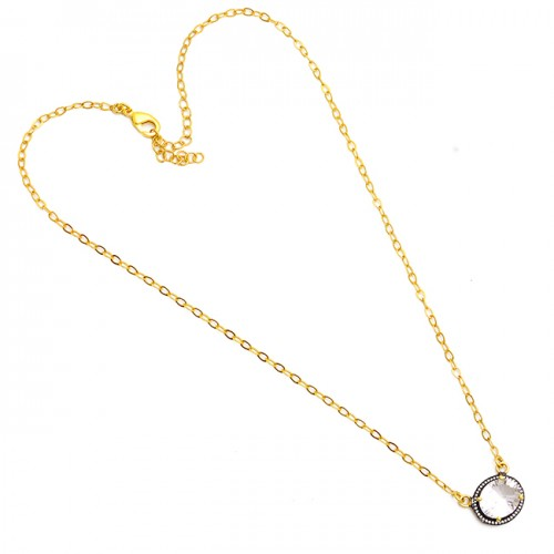 Oval Shape Crystal Quartz Gemstone 925 Sterling Silver Gold Plated Necklace